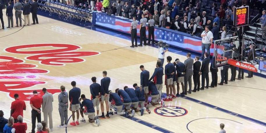 Eight Players at Ole Miss Kneel During National Anthem